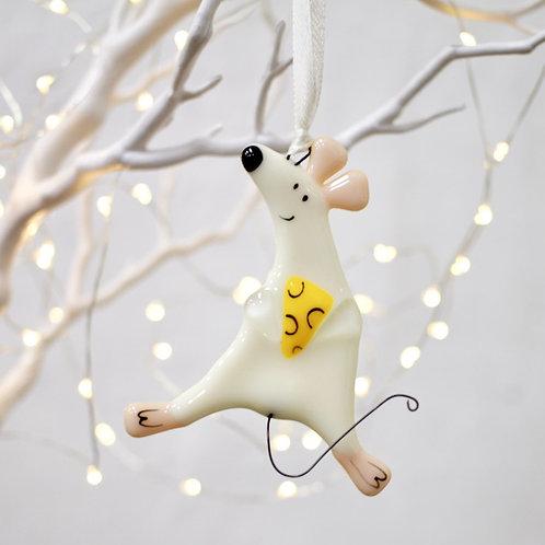Новогодняя игрушка 'Мышонок с сыром' (сливочный)