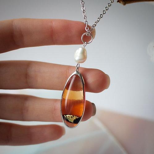 Кулон 'Прозрачный персиковый с жемчуженкой'