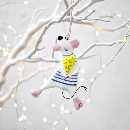 Новогодняя игрушка 'Мышонок с сыром' (бело-розовый)