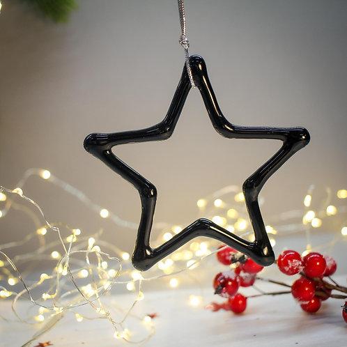 Новогодняя игрушка 'Звезда' (черный опал)