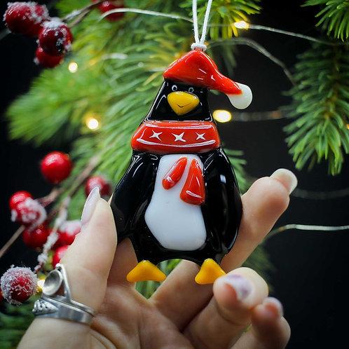 Новогодняя игрушка 'Пингвин' (красный шарфик)