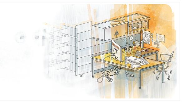 AOL Office - Digital Illustration