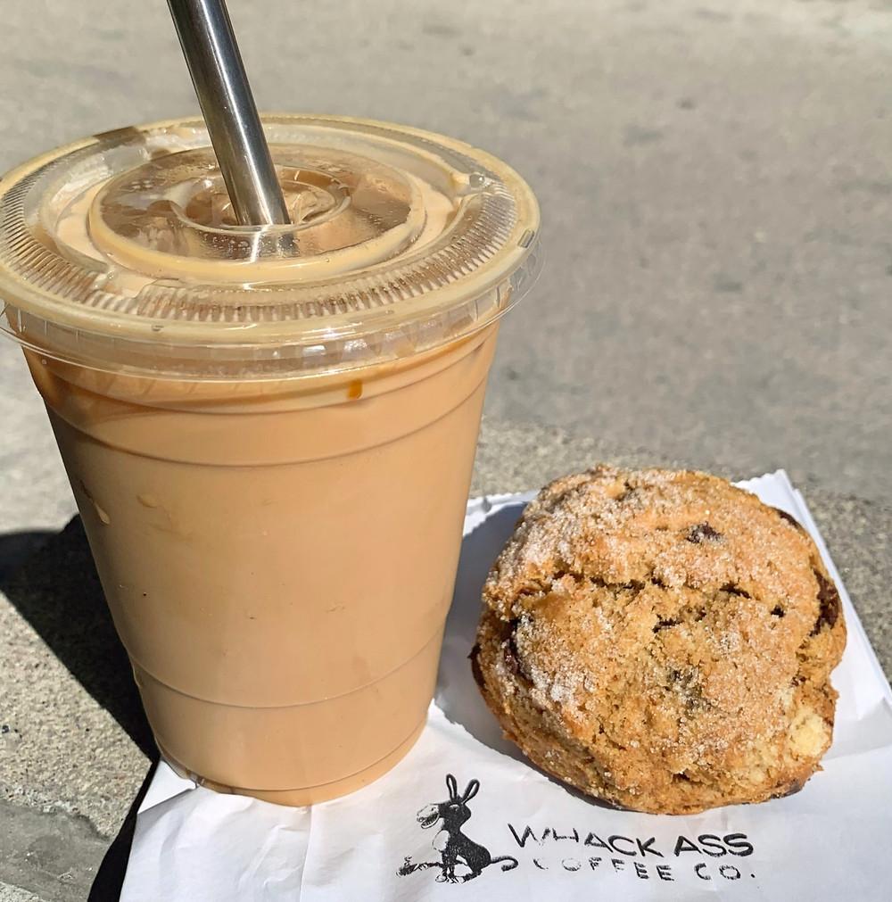 Whack Ass Coffee caramel latte and chocolate espresso scone menu
