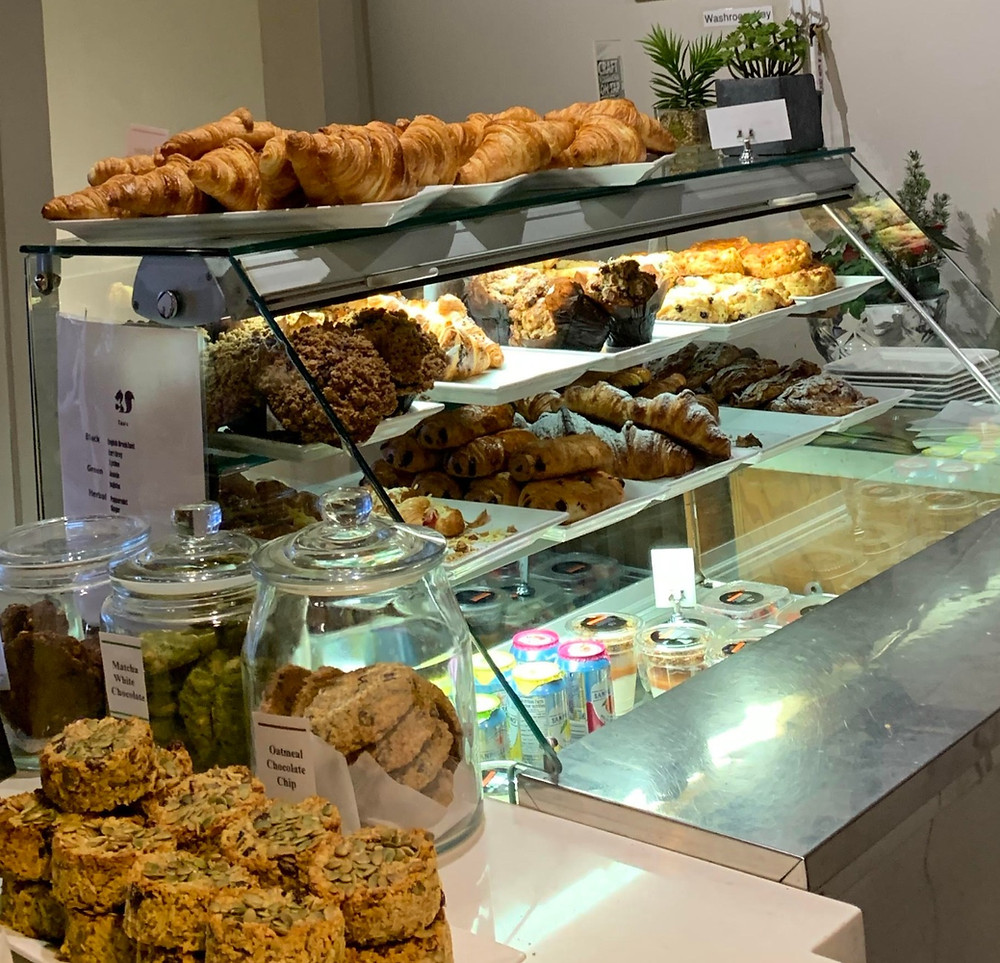 display case of Manic Coffee pastries
