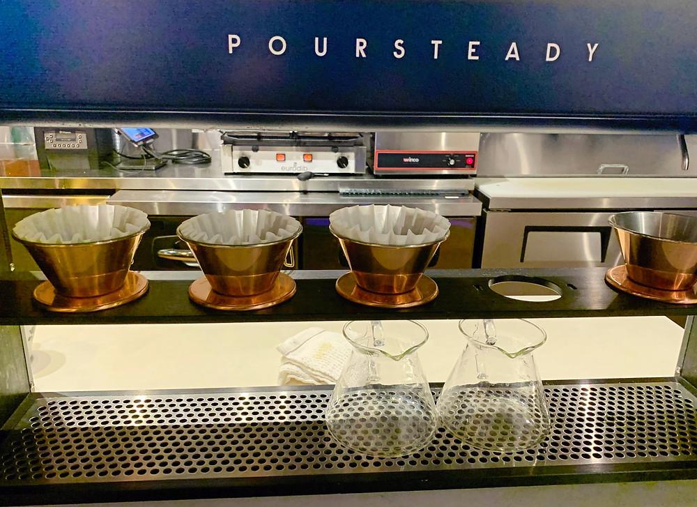 Poursteady coffee equipment in Manic Coffee Toronto