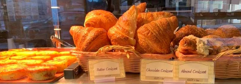 Croissants and breakfast egg cups at Mabel's Bakery