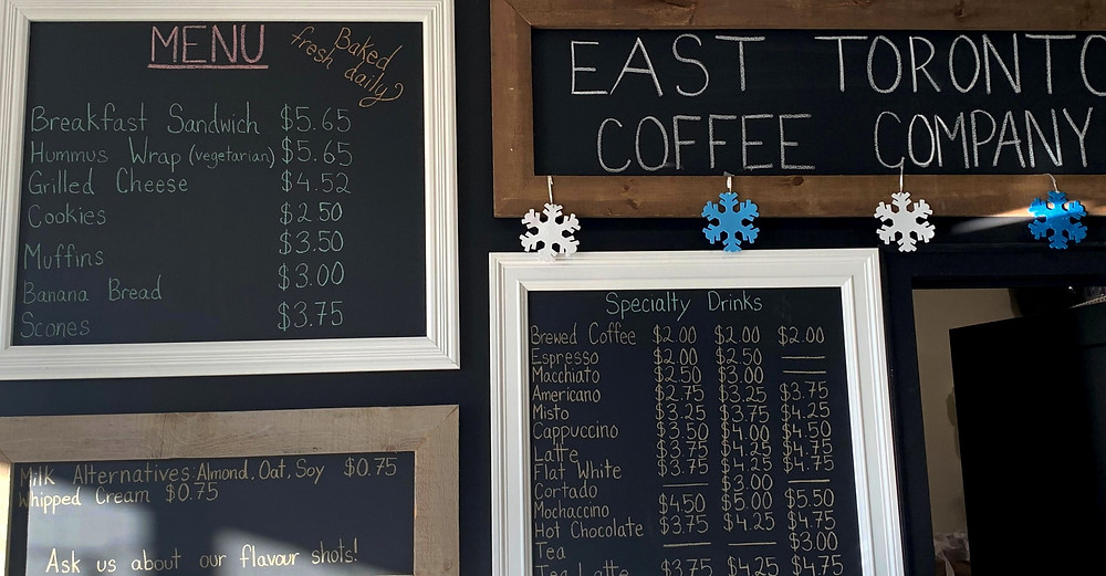 East Toronto Coffee Co menu affordable cafe