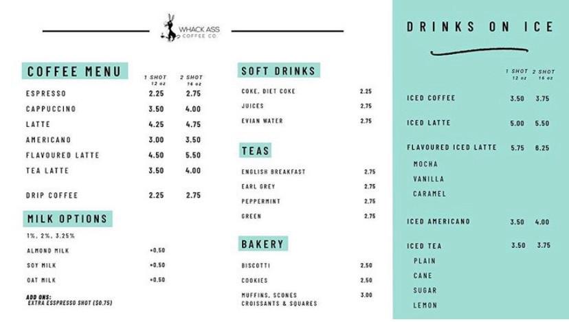 Whack Ass Coffee menu prices