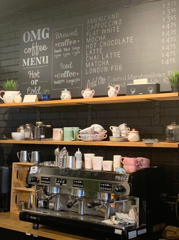 Coffee menu at OMG Baked Goodness Toronto Dundas and Dufferin