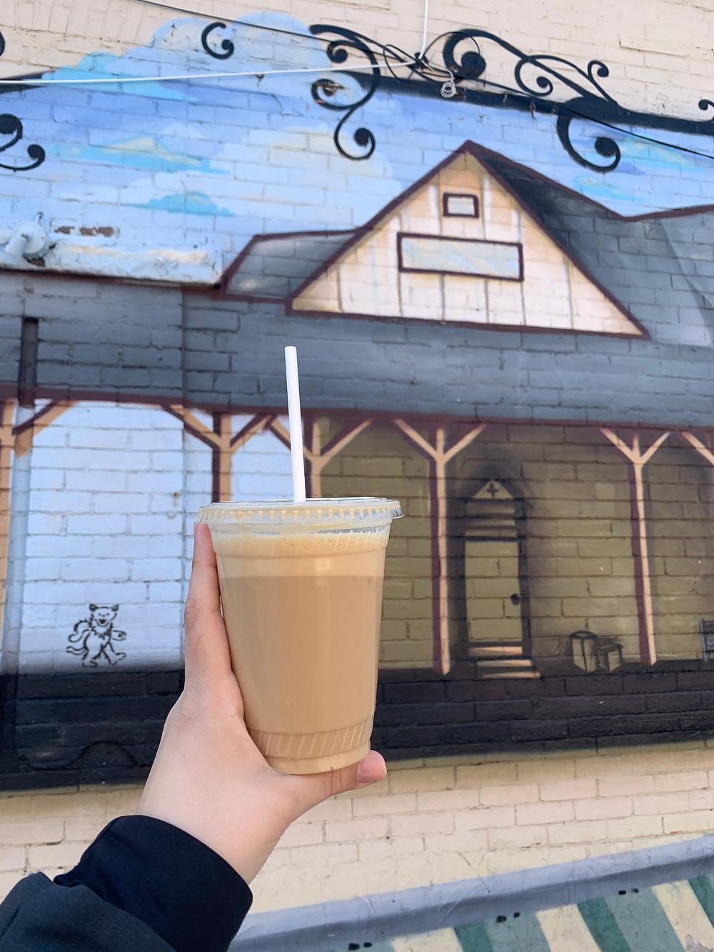 iced latte & Junction mural