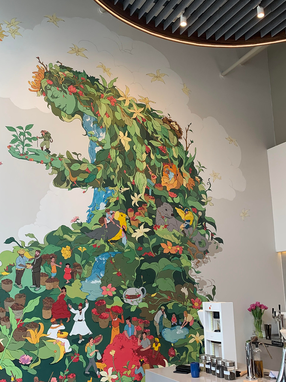 nature mural, Third Wave Coffee interior