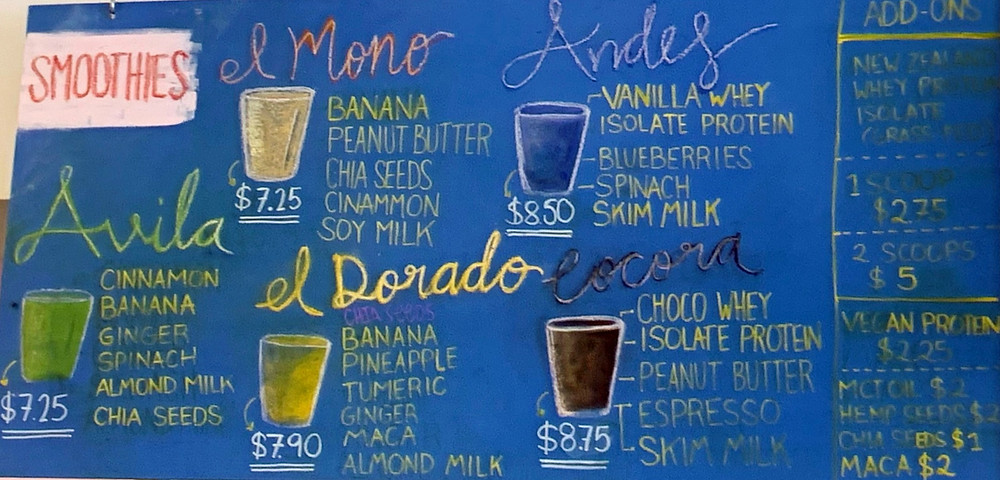 Smoothie menu at Pomarosa Coffee Shop in Toronto East End