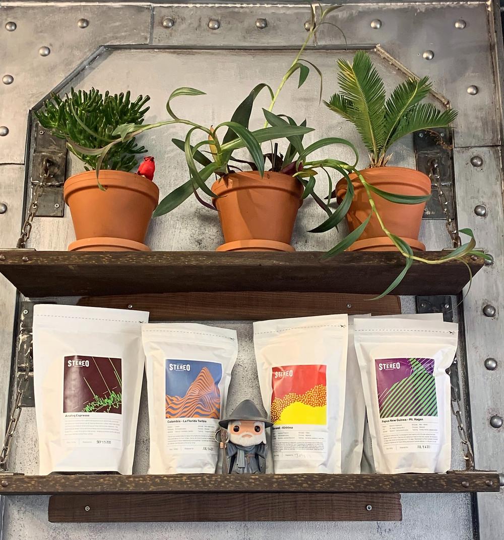 Stereo Coffee plants and Funko POP figure at Caravan Cafe & Tea House coffee shop Toronto