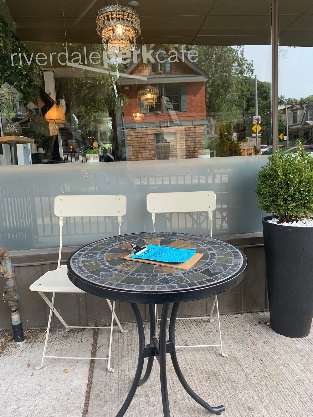 Toronto Riverdale Perk Cafe coffee patio open during COVID