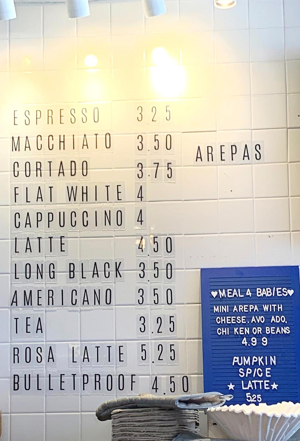 Pomarosa Coffee Shop Toronto menu with prices