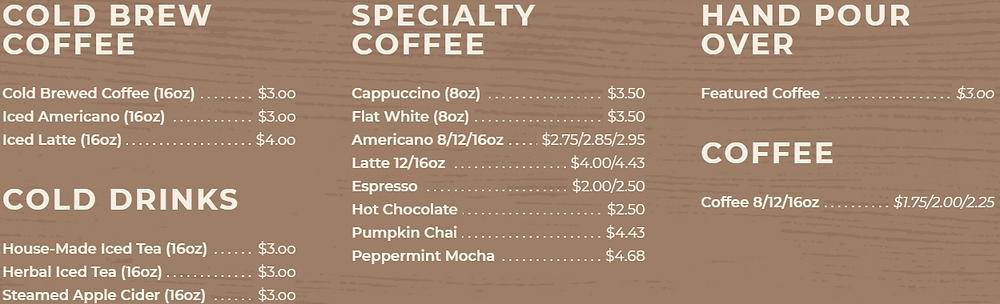 Crosscut Coffee menu cheap cafe Toronto