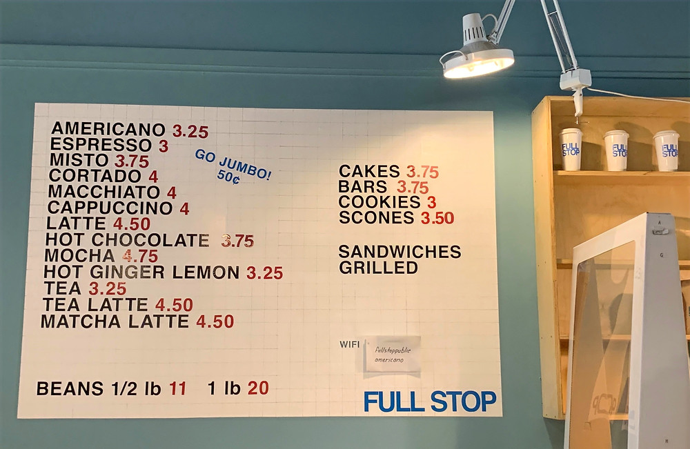 Full Stop coffee shop menu prices