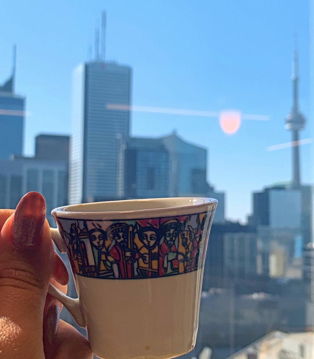 Paramount Original Coffee Company new Toronto coffee company; traditional Ethiopian coffee cup with CN tower