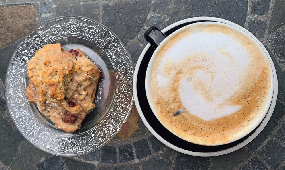 Cappuccino and scone from Riverdale Perk Cafe in-house baked goods