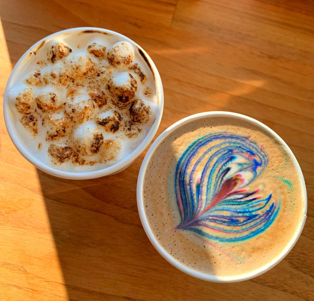 Rainbow latte and toasted marshmallow hot chocolate at East Toronto Coffee Co