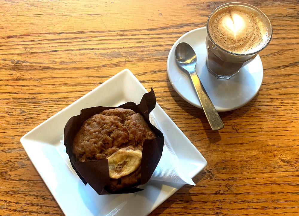 vegan peanut butter banana muffin & cortado