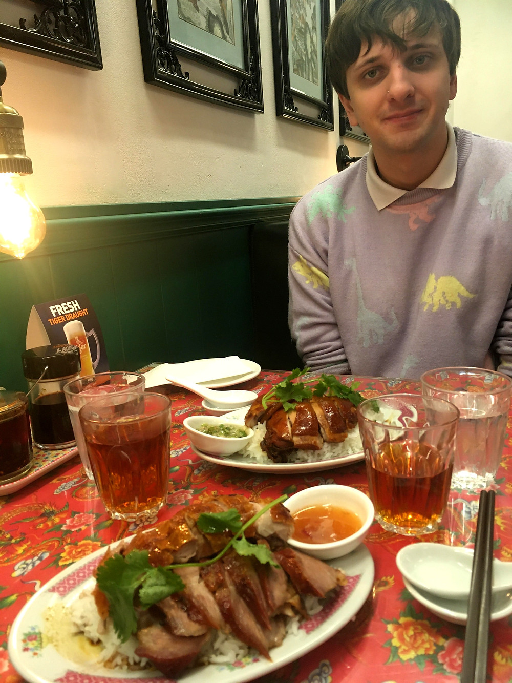Vancouver Chinatown BBQ traditional Chinese food and tea with date