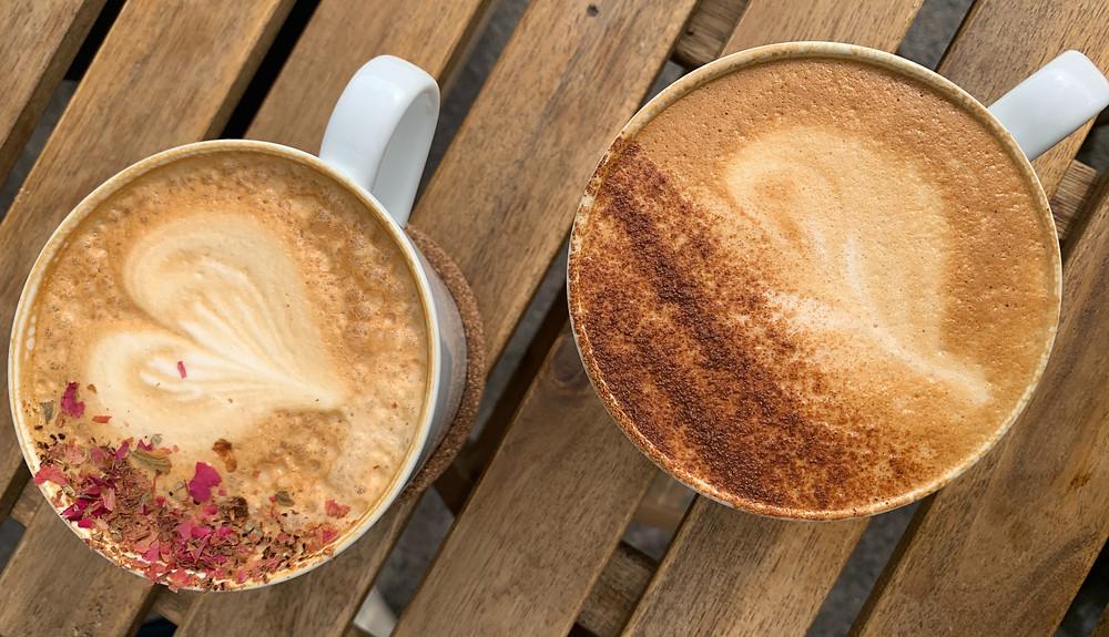 Beautiful latte art at Pomarosa Coffee Shop in East Danforth Toronto