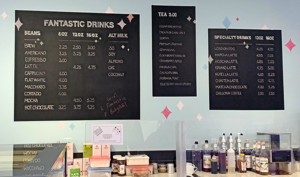 Fantastic Baby Cafe coffee menu and prices