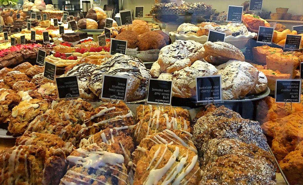 Full pastry case at Purebread Vancouver