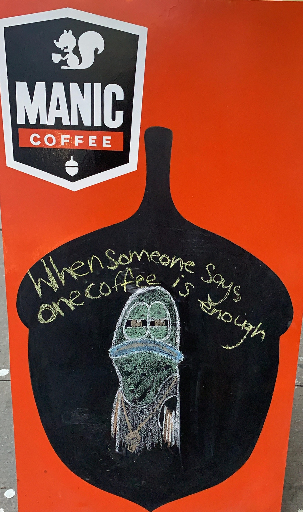 Manic Coffee signboard, Spongebob reference