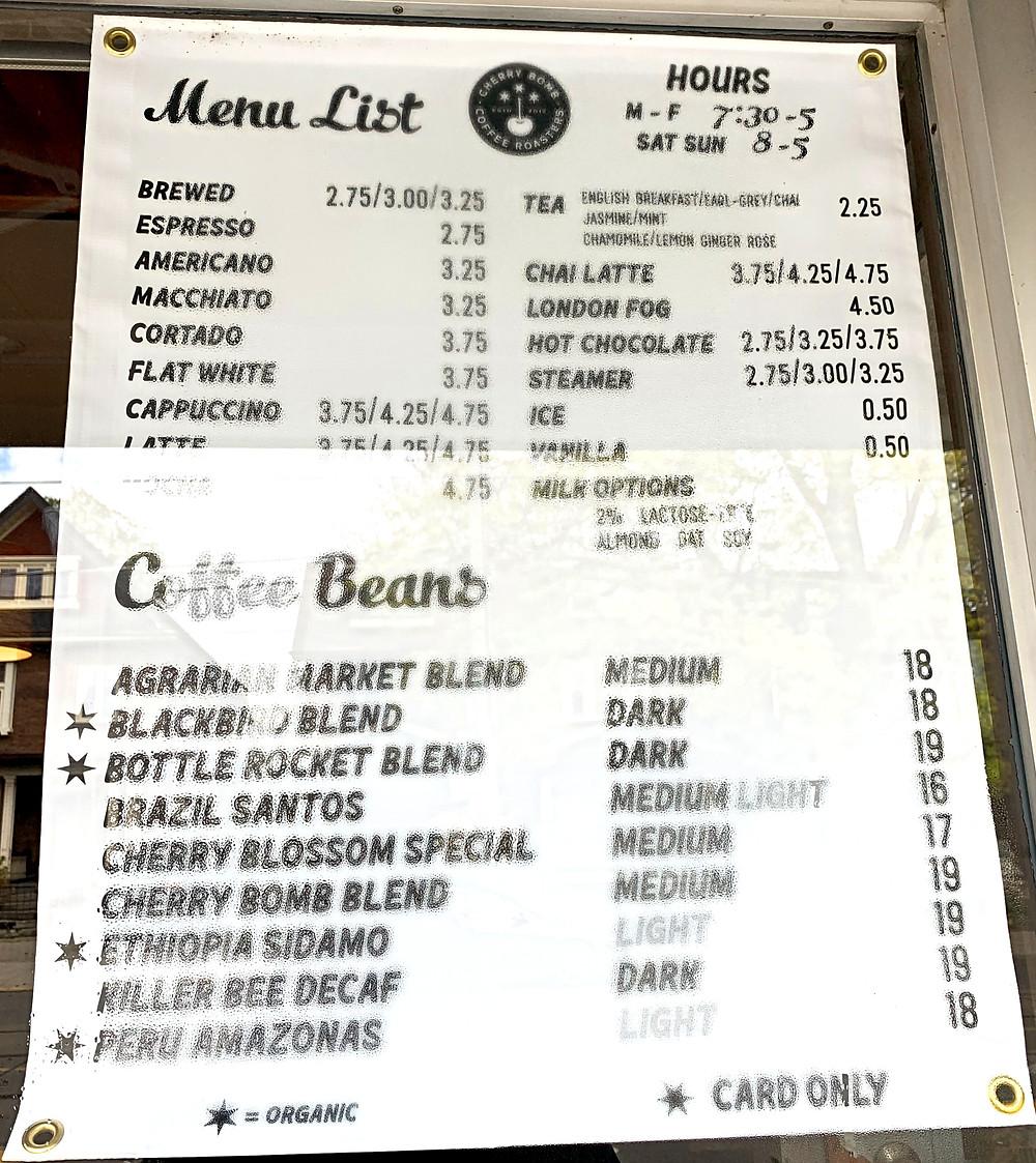 Menu at Cherry Bomb Coffee on Roncesvalles Toronto