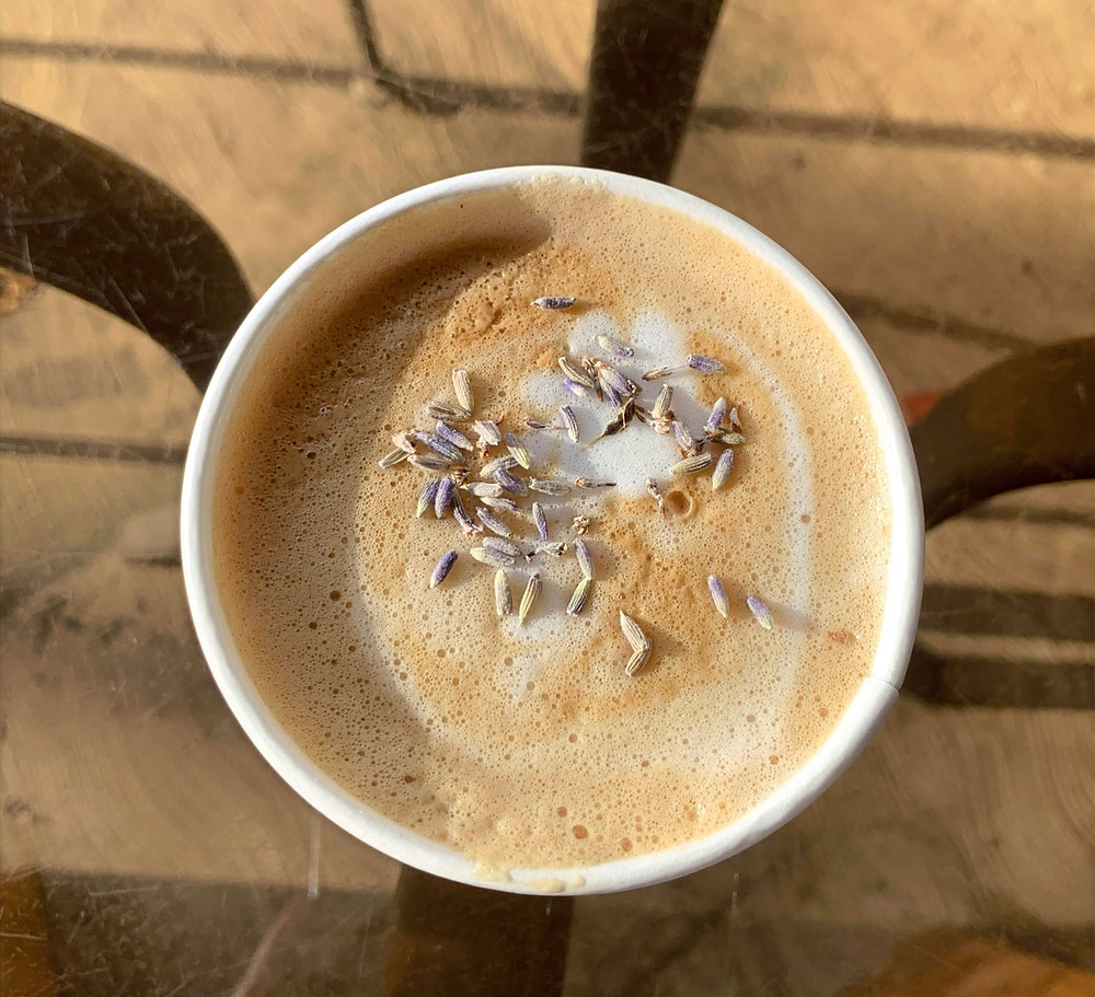 fresh lavender latte from May Flowers Floral Co flower shop and cafe