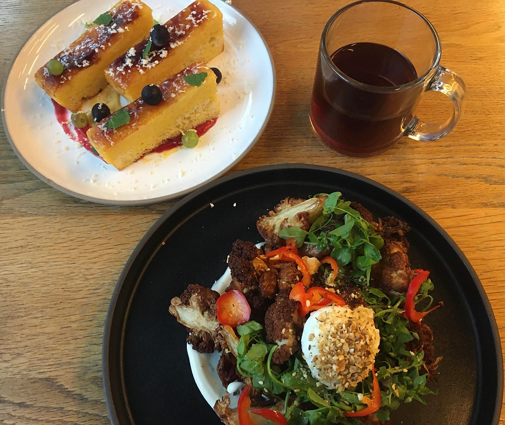 "Brunch at Nemesis Coffee: french toast brulee, featured pour over, the ""raddest"" cauliflower hash"