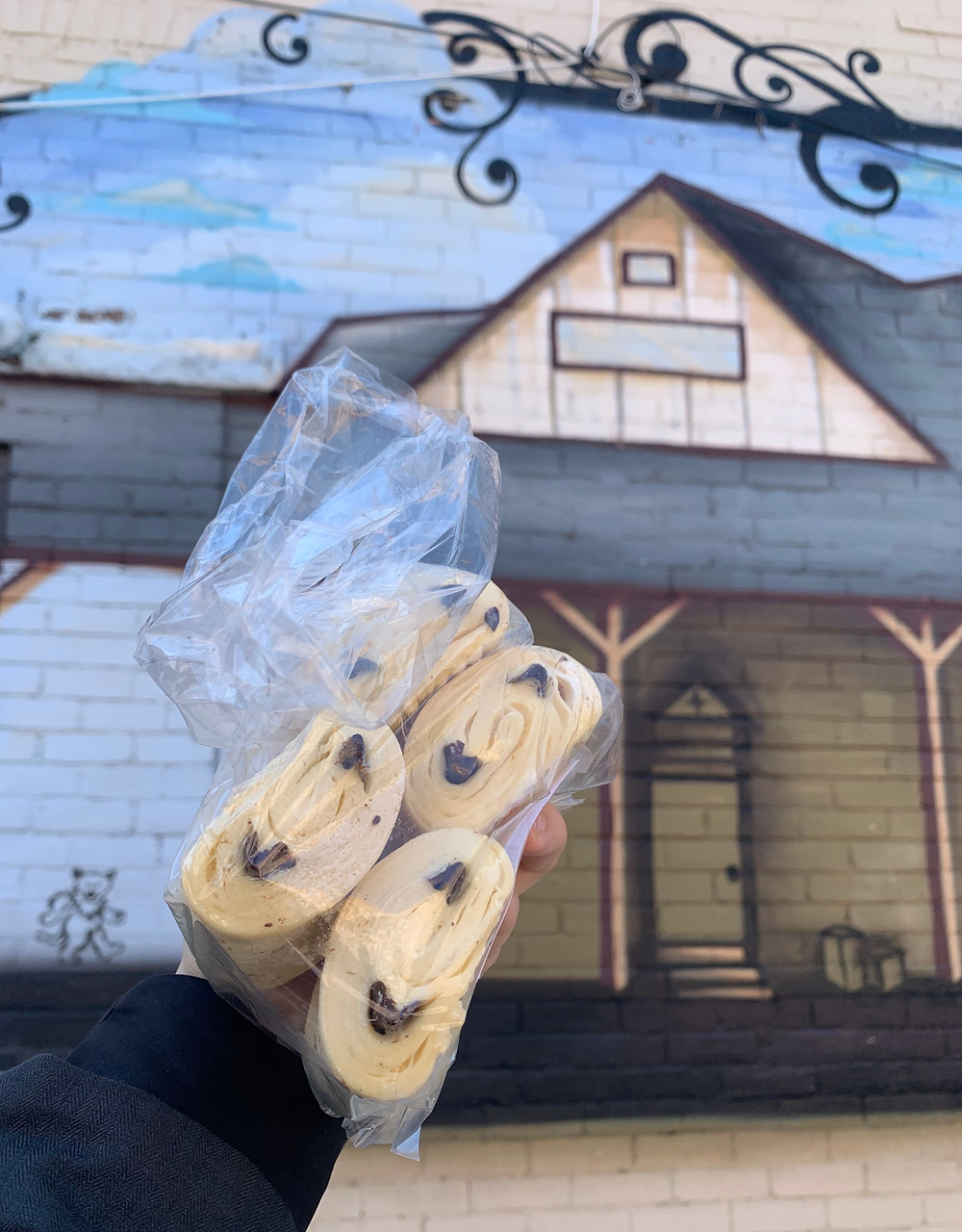 bag of French frozen croissants on sale & Junction mural