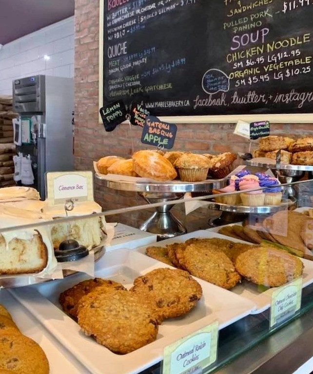 Baked goods and cinnamon buns at Mabel's Bakery Toronto