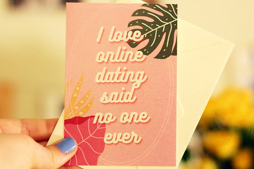 I Love Online Dating Tiny Postcard