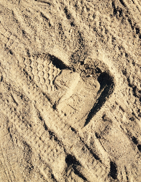 Heart of footprint in the sand. Found this when I was walking on a sand path with my sister for some exercise. I was feeling insufficient and like I wasn't good enough, and then I saw this.