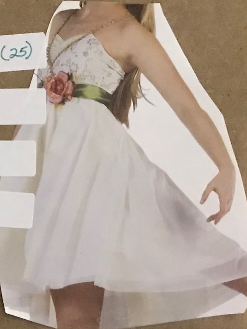 SMALL GROUP-White Dress with Gold Details, Green Ribbon and Pink Flower Belt