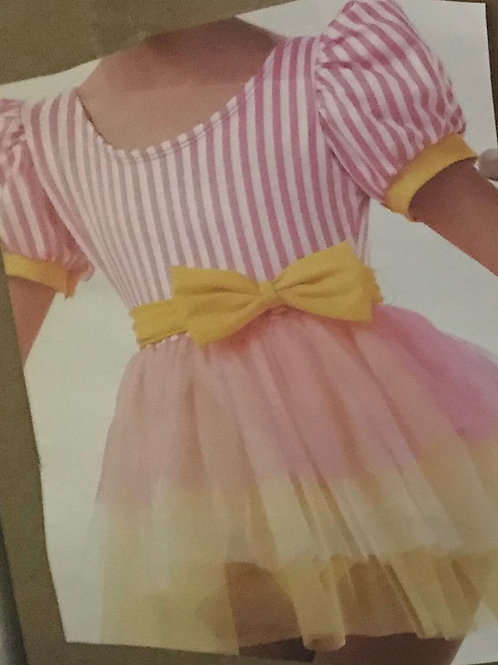 SMALL GROUP-Pink and Yellow 3 Tone Dress With Yellow Bow