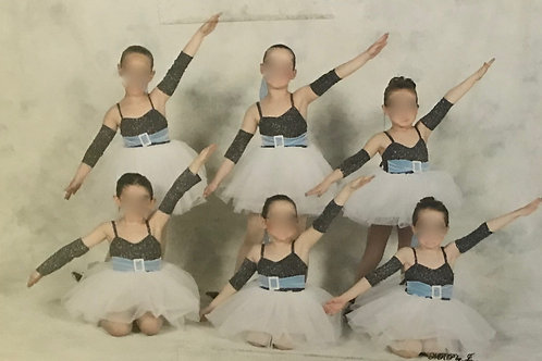 SMALL GROUP- Black Sparkly Body Suit, White Tutu With Blue Belt