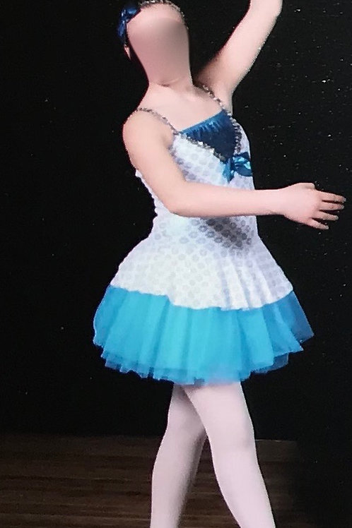 SMALL GROUP-White Bodysuit with Skirt and Blue Tutu