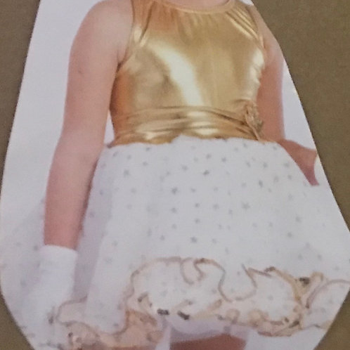 SMALL GROUP-Gold Top Dress with White Polka Dot Tutu