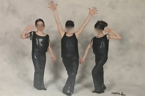 SMALL GROUP-Black Bodysuit with Fringe, Fringe Skirt and Matching Pants