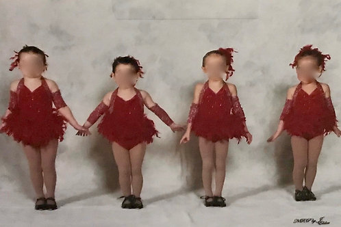 SMALL GROUP-Red Halter Dress with Feather Skirt