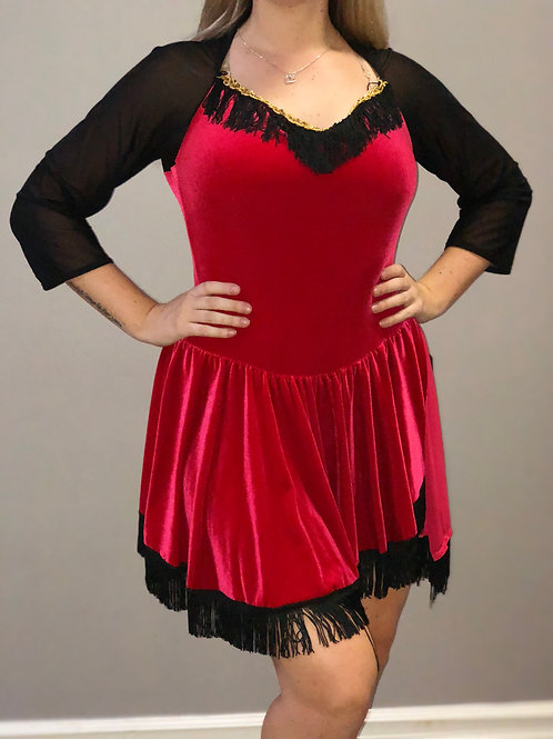 SOLO- Red Dress With Black Fringe