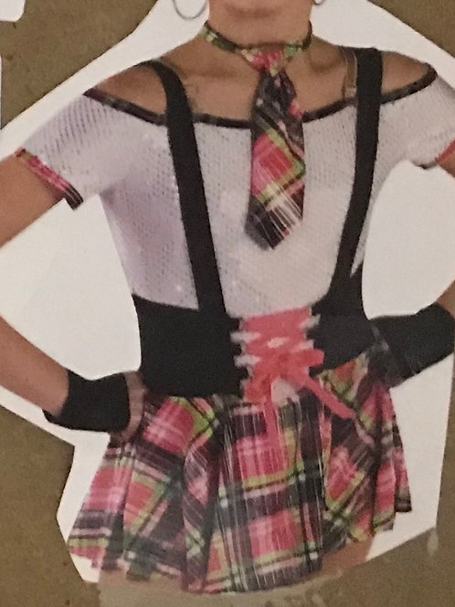 SMALL GROUP-White Bodysuit with Pink Plaid Skirt and Suspenders