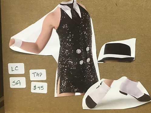 DUO-Black Sequins Tunic with Collar and Tie, Shoe Covers and Hat included