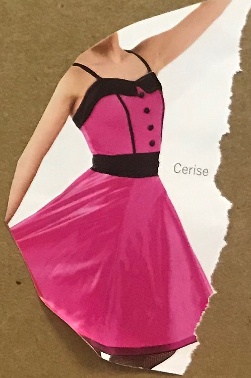SMALL GROUP-Hot Pink Dress With Black Button Details and Gloves