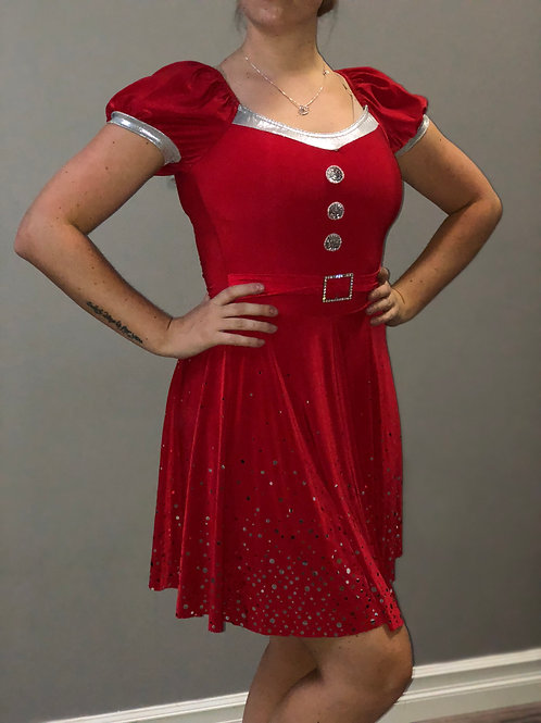 DUO- Vintage Red Dress With Silver Accents