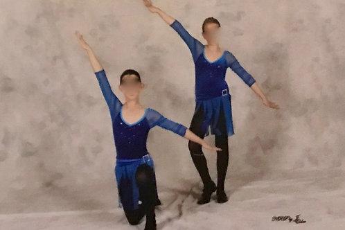 SMALL GROUP-Blue Velvet Bodysuit with Mesh Sleeves & Skirt